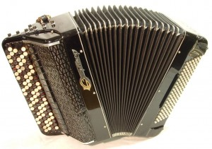 A Russian Bayan accordion made out of metal