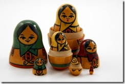 Partially disassembled Russian Matryoshka doll