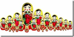Traditionally coloured Matryoshka dolls