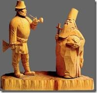 Byzantine era Russian plain wooden figurines.