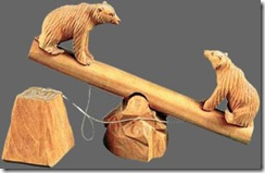 Russian communist-era wooden toy depicting two bears on a see-saw