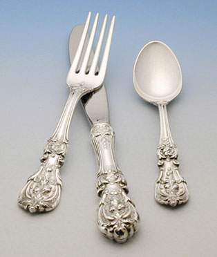 Russian Silve Tableware  - a silver fork, a silver knife and a silver spoon