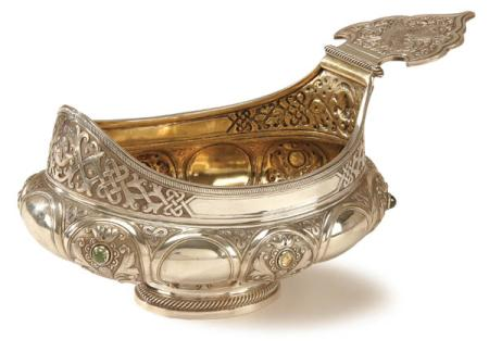 Russian Silver Serving Bowl with Gemstone Inlays